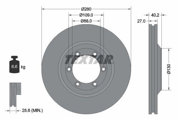 TEXTAR PRO 92174803 Bremsscheibe Bremsscheibendicke: 27mm, Ø: 280mm