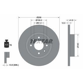 Bremsscheibe Bremsscheibendicke: 12,0mm, Ø: 259mm mit OEM-Nummer A453 420 00 00