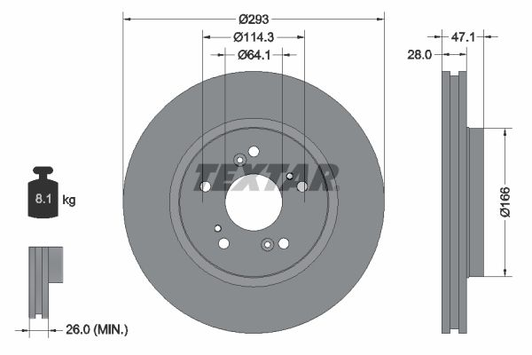 TEXTAR PRO 92184803 Brake Disc Brake Disc Thickness: 28mm, Ø: 293mm
