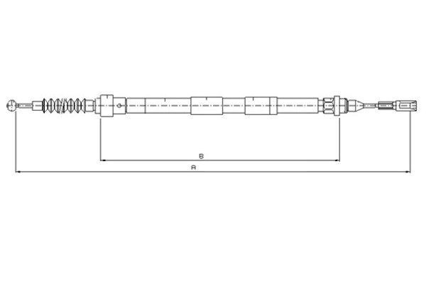 TEXTAR  44005100 Seilzug, Feststellbremse Länge: 1296/1127mm