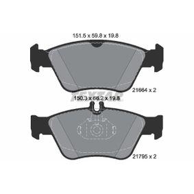 Bremsbelagsatz, Scheibenbremse Breite 1: 151,5mm, Breite 2: 150,3mm, Höhe 1: 59,8mm, Höhe 2: 66,2mm, Dicke/Stärke: 19,8mm mit OEM-Nummer A004420022067