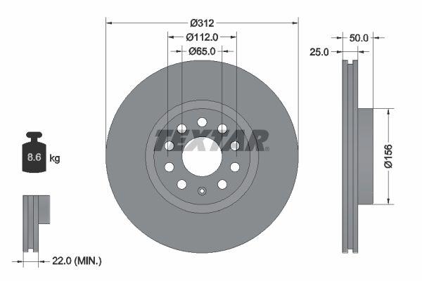 TEXTAR PRO 92120503 Bremsscheibe Bremsscheibendicke: 25mm, Ø: 312mm