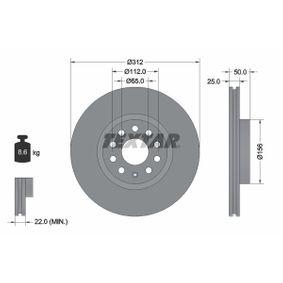 Bremsscheibe Bremsscheibendicke: 25mm, Ø: 312mm mit OEM-Nummer 1KD615301D