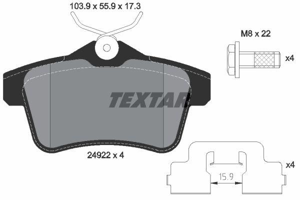 TEXTAR  2492201 Bremsbelagsatz, Scheibenbremse Breite: 103,9mm, Höhe: 55,9mm, Dicke/Stärke: 17,3mm