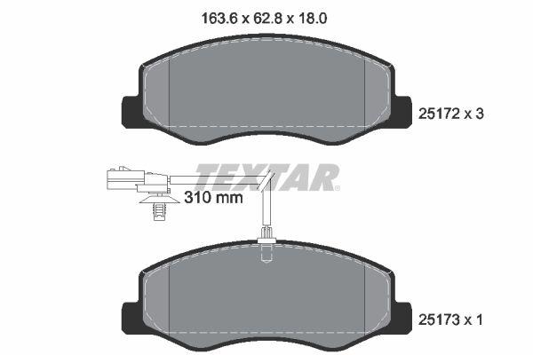TEXTAR  2517201 Bremsbelagsatz, Scheibenbremse Breite: 163,6mm, Höhe: 62,8mm, Dicke/Stärke: 18mm