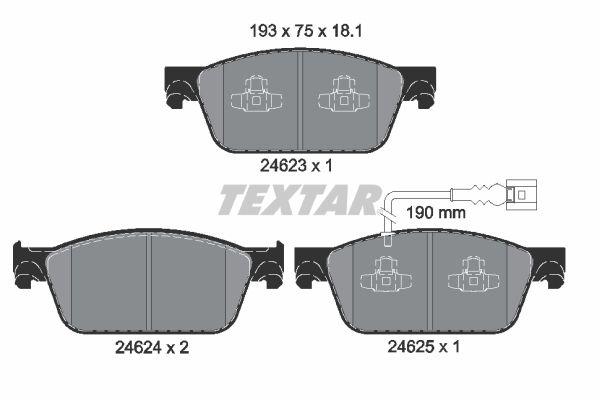 TEXTAR  2462301 Bremsbelagsatz, Scheibenbremse Breite: 193mm, Höhe: 75mm, Dicke/Stärke: 18,1mm