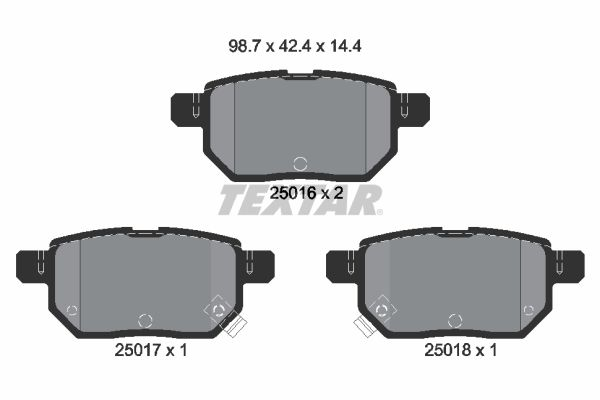 TEXTAR  2501601 Bremsbelagsatz, Scheibenbremse Breite: 98,7mm, Höhe: 42,4mm, Dicke/Stärke: 14,4mm