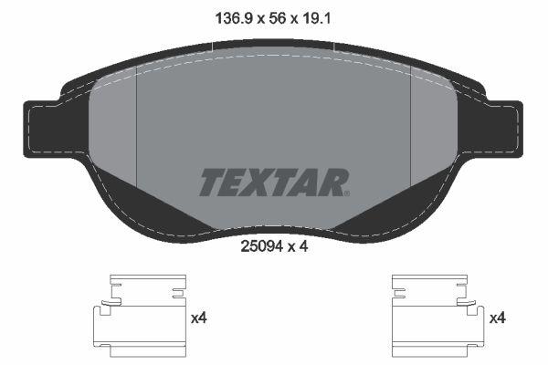 TEXTAR  2509401 Bremsbelagsatz, Scheibenbremse Breite: 136,9mm, Höhe: 56mm, Dicke/Stärke: 19,1mm