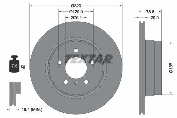 TEXTAR PRO 92161103 Bremsscheibe Bremsscheibendicke: 20,0mm, Ø: 320mm