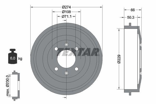 TEXTAR OE-Line 92165110 Bremsscheibe Bremsscheibendicke: 24,0mm, Ø: 298mm