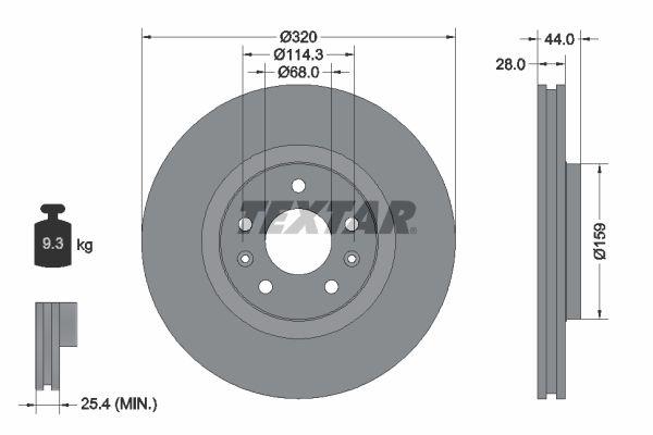 TEXTAR PRO 92195403 Brake Disc Brake Disc Thickness: 28mm, Ø: 320mm