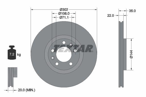 TEXTAR PRO 92197103 Bremsscheibe Bremsscheibendicke: 22mm, Ø: 302mm