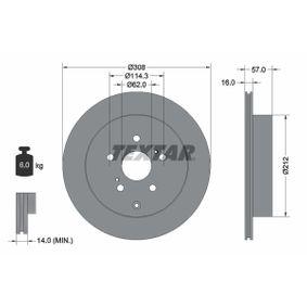 TEXTAR  92222200 Bremsscheibe Bremsscheibendicke: 16,0mm, Ø: 308mm