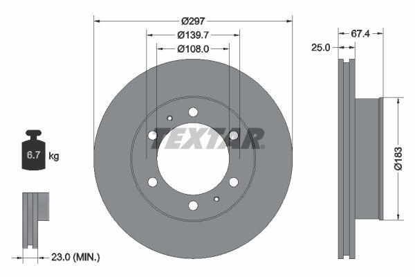 TEXTAR  92222600 Bremsscheibe Bremsscheibendicke: 25mm, Ø: 297mm