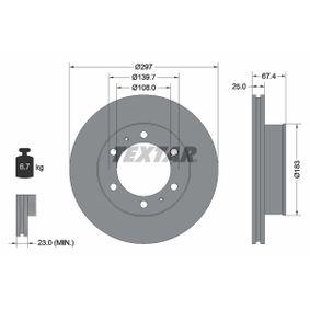 TEXTAR  92222600 Bremsscheibe Bremsscheibendicke: 25,0mm, Ø: 297mm