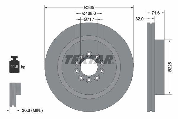 TEXTAR PRO 92223103 Bremsscheibe Bremsscheibendicke: 32mm, Ø: 365mm
