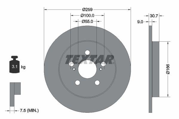 TEXTAR PRO 92224003 Bremsscheibe Bremsscheibendicke: 9mm, Ø: 259mm