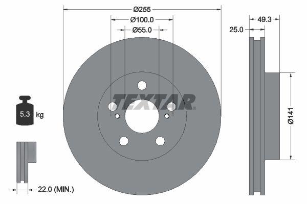 TEXTAR PRO 92225003 Bremsscheibe Bremsscheibendicke: 25mm, Ø: 255mm