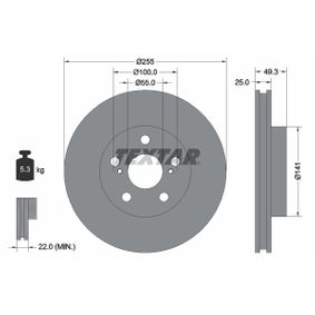 TEXTAR PRO 92225003 Bremsscheibe Bremsscheibendicke: 25,0mm, Ø: 255mm