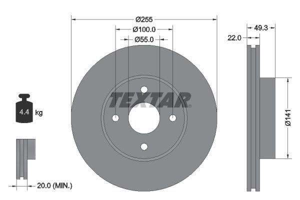 TEXTAR  92226300 Bremsscheibe Bremsscheibendicke: 22mm, Ø: 255mm