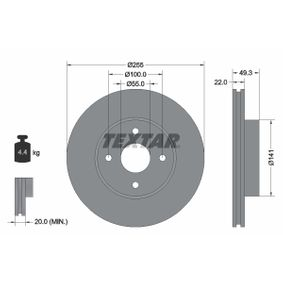 TEXTAR  92226300 Bremsscheibe Bremsscheibendicke: 22,0mm, Ø: 255mm