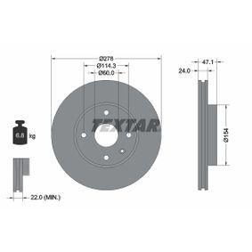 TEXTAR PRO 92227303 Bremsscheibe Bremsscheibendicke: 24,0mm, Ø: 278mm