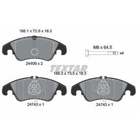Bremsbelagsatz, Scheibenbremse Breite: 188,0mm, Höhe: 72,9mm, Dicke/Stärke: 18,0mm mit OEM-Nummer 1567730