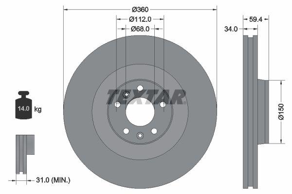 TEXTAR PRO 92122203 Bremsscheibe Bremsscheibendicke: 34mm, Ø: 360mm