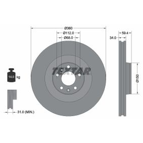 TEXTAR PRO 92122203 Bremsscheibe Bremsscheibendicke: 34,0mm, Ø: 360mm