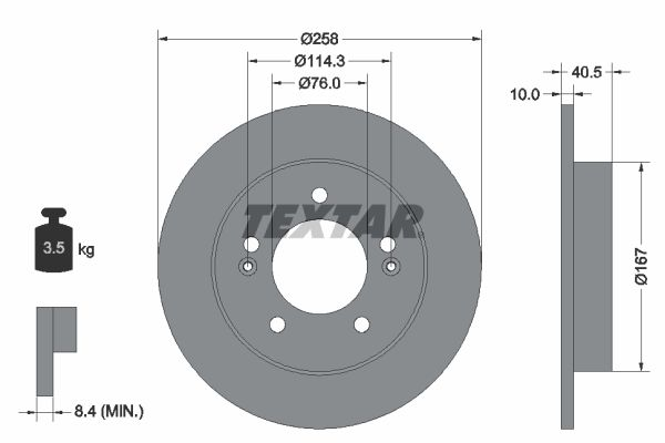 TEXTAR PRO 92226103 Bremsscheibe Bremsscheibendicke: 10mm, Ø: 258mm
