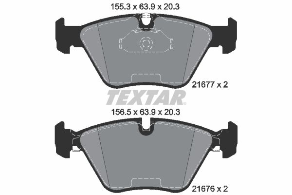 TEXTAR epad 2167781 Bremsbelagsatz, Scheibenbremse Breite 1: 155,3mm, Breite 2: 156,5mm, Höhe: 63,9mm, Dicke/Stärke: 20,3mm