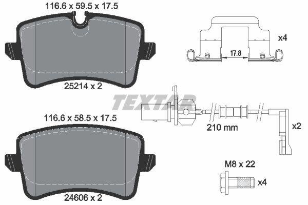 TEXTAR  2521402 Bremsbelagsatz, Scheibenbremse Breite: 116,6mm, Höhe 1: 59,5mm, Höhe 2: 58,5mm, Dicke/Stärke: 17,5mm