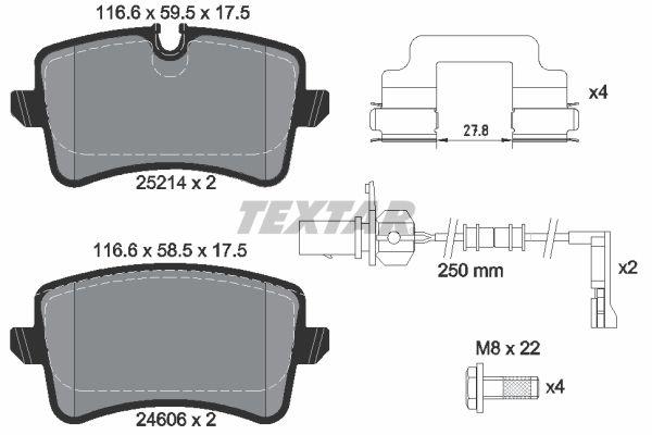 TEXTAR  2521404 Bremsbelagsatz, Scheibenbremse Breite: 116,6mm, Höhe 1: 59,5mm, Höhe 2: 58,5mm, Dicke/Stärke: 17,5mm