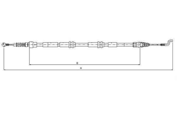 TEXTAR  44046500 Seilzug, Feststellbremse Länge: 1303/1005mm