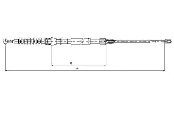 TEXTAR  44044800 Seilzug, Feststellbremse Länge: 1561/896mm