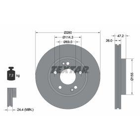 Bremsscheibe Bremsscheibendicke: 26mm, Ø: 280mm mit OEM-Nummer 51712-3K000