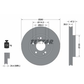 Brake Disc Brake Disc Thickness: 26mm, Ø: 280mm with OEM Number 51712 3K000