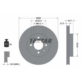 Спирачен диск дебелина на спирачния диск: 21,0мм, Ø: 262мм с ОЕМ-номер 45251-SK7-A00