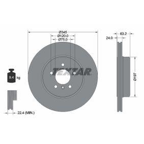 Bremsscheibe Bremsscheibendicke: 24,0mm, Ø: 345mm mit OEM-Nummer 34 216 763 827
