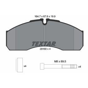 Bremsbelagsatz, Scheibenbremse Breite: 164,5mm, Höhe: 67,8mm, Dicke/Stärke: 19,9mm mit OEM-Nummer 410609X129