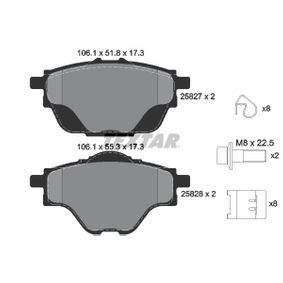 TEXTAR  2582701 Bremsbelagsatz, Scheibenbremse Breite: 106,1mm, Höhe 1: 51,8mm, Höhe 2: 55,3mm, Dicke/Stärke: 17,3mm