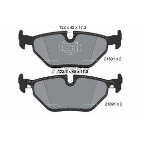 Bremsbelagsatz, Scheibenbremse Breite 1: 123,2mm, Breite 2: 122mm, Höhe 2: 45mm, Dicke/Stärke: 17,3mm mit OEM-Nummer 34212157591