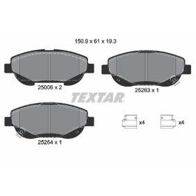 TEXTAR  2500601 Bremsbelagsatz, Scheibenbremse Breite: 150,9mm, Höhe: 61mm, Dicke/Stärke: 19,3mm