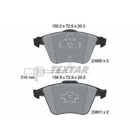 TEXTAR  2395081 Bremsbelagsatz, Scheibenbremse Breite 1: 156,5mm, Breite 2: 155,3mm, Höhe: 72,9mm, Dicke/Stärke: 20,3mm