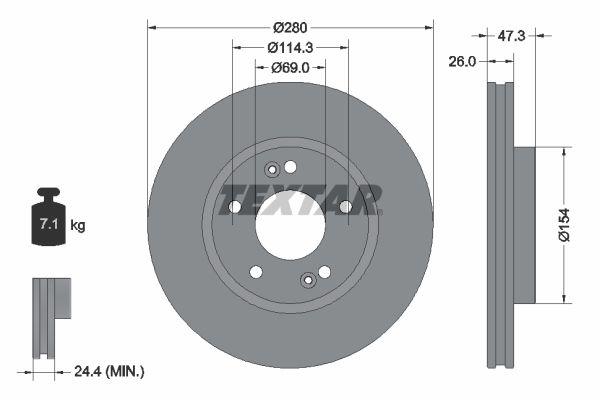 TEXTAR PRO 92133903 Bremsscheibe Bremsscheibendicke: 26mm, Ø: 280mm