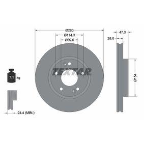 Bremsscheibe Bremsscheibendicke: 26mm, Ø: 280mm mit OEM-Nummer 51712 1F300
