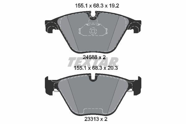 TEXTAR  2468881 Bremsbelagsatz, Scheibenbremse Breite 1: 155,1mm, Breite 2: 155,1mm, Höhe 1: 68,3mm, Höhe 2: 68,3mm, Dicke/Stärke 1: 19,2mm, Dicke/Stärke 2: 20,3mm
