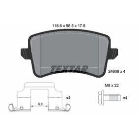 Bremsbelagsatz, Scheibenbremse Breite: 116,6mm, Höhe: 58,5mm, Dicke/Stärke: 17,5mm mit OEM-Nummer 8K0098601F