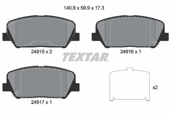 TEXTAR  2491501 Bremsbelagsatz, Scheibenbremse Breite: 140,9mm, Höhe: 59,9mm, Dicke/Stärke: 17,3mm