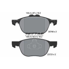 Bremsbelagsatz, Scheibenbremse Breite 1: 155,4mm, Breite 2: 155,3mm, Höhe 1: 67mm, Höhe 2: 62,4mm, Dicke/Stärke: 18,2mm mit OEM-Nummer CV61-2K021-BA